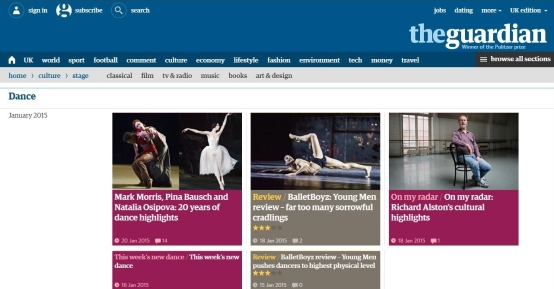 The Guardian's homepage for dance and theatre